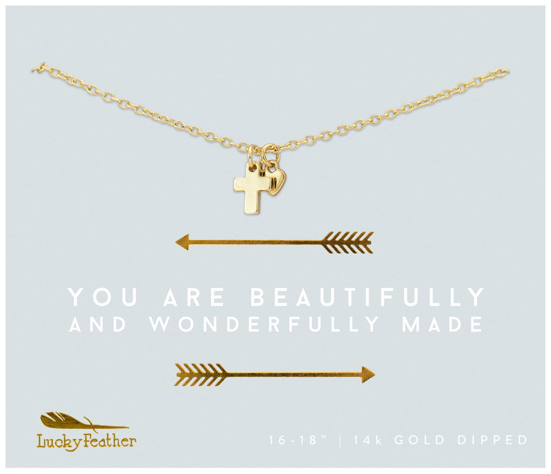 Lucky Feather Beautifully Made Cross & Heart Necklace-Gold