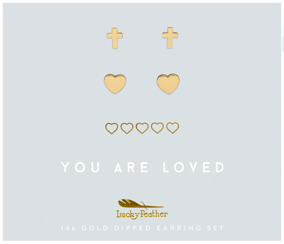Lucky Feather Loved Cross & Hearts Earring Set-Gold