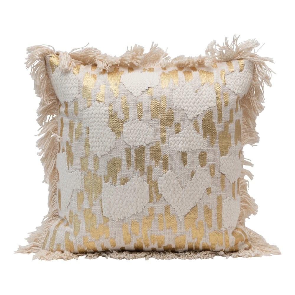 """Creative Co-Op 18"""" Square Cotton Gold Foil & Fringe Pillow"""