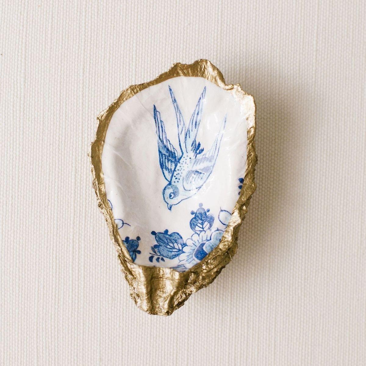 Grit and Grace Studio Indigo Decoupage Oyster Ring Dish Bluebird