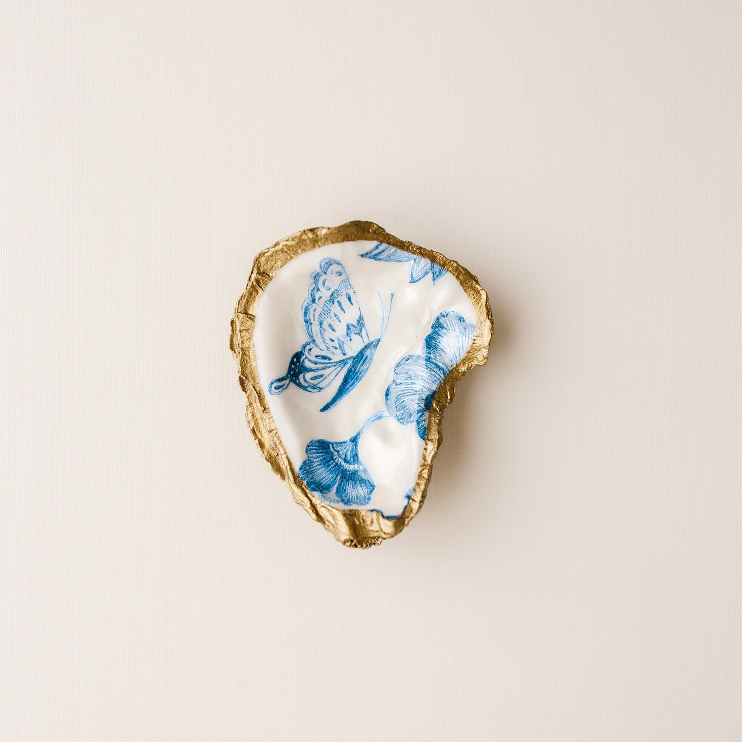 Grit and Grace Studio Indigo Decoupage Oyster Ring Dish Butterfly
