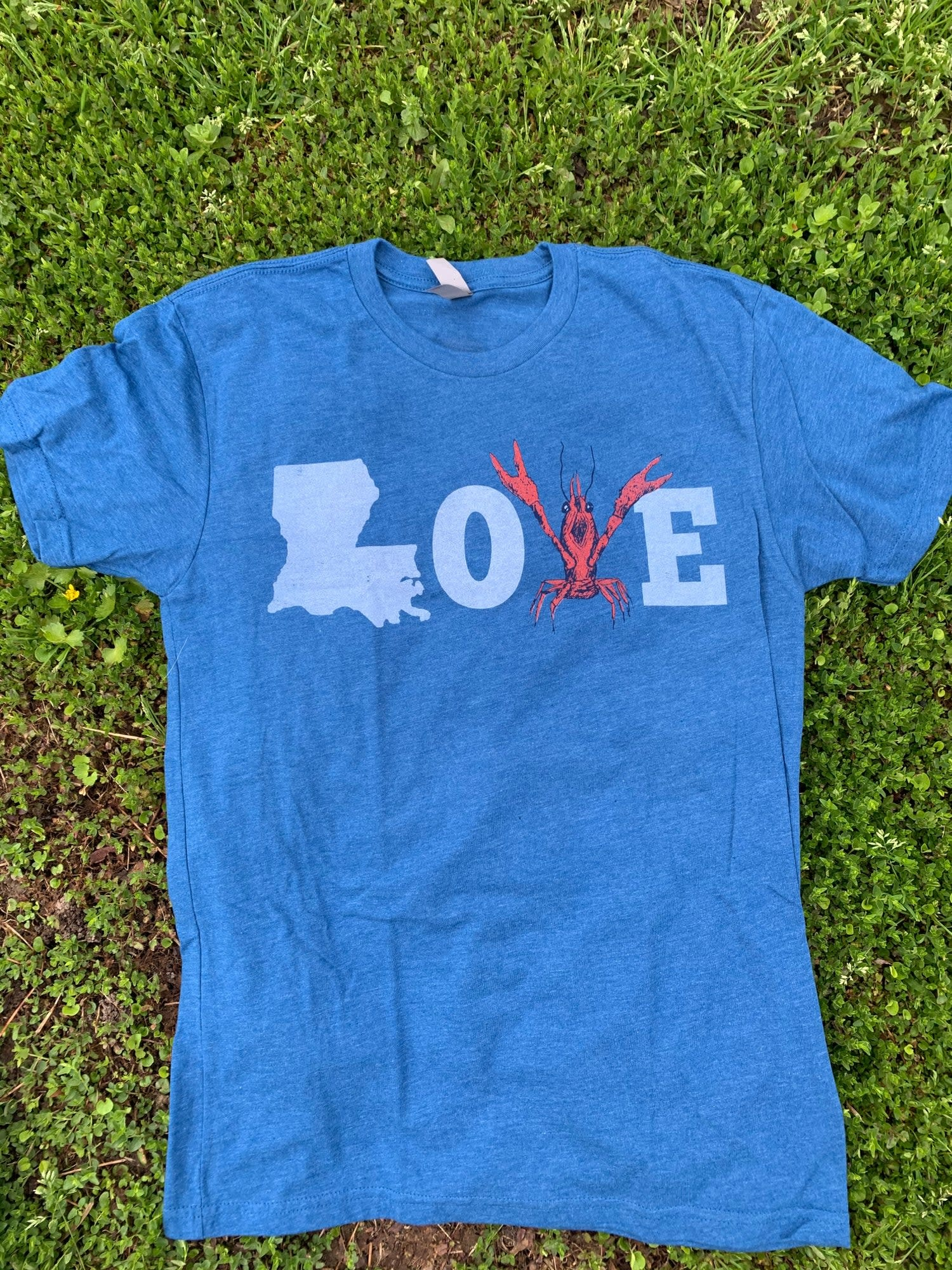 Mr Ps Tees Adult LOVE Blue Crawfish T-Shirt