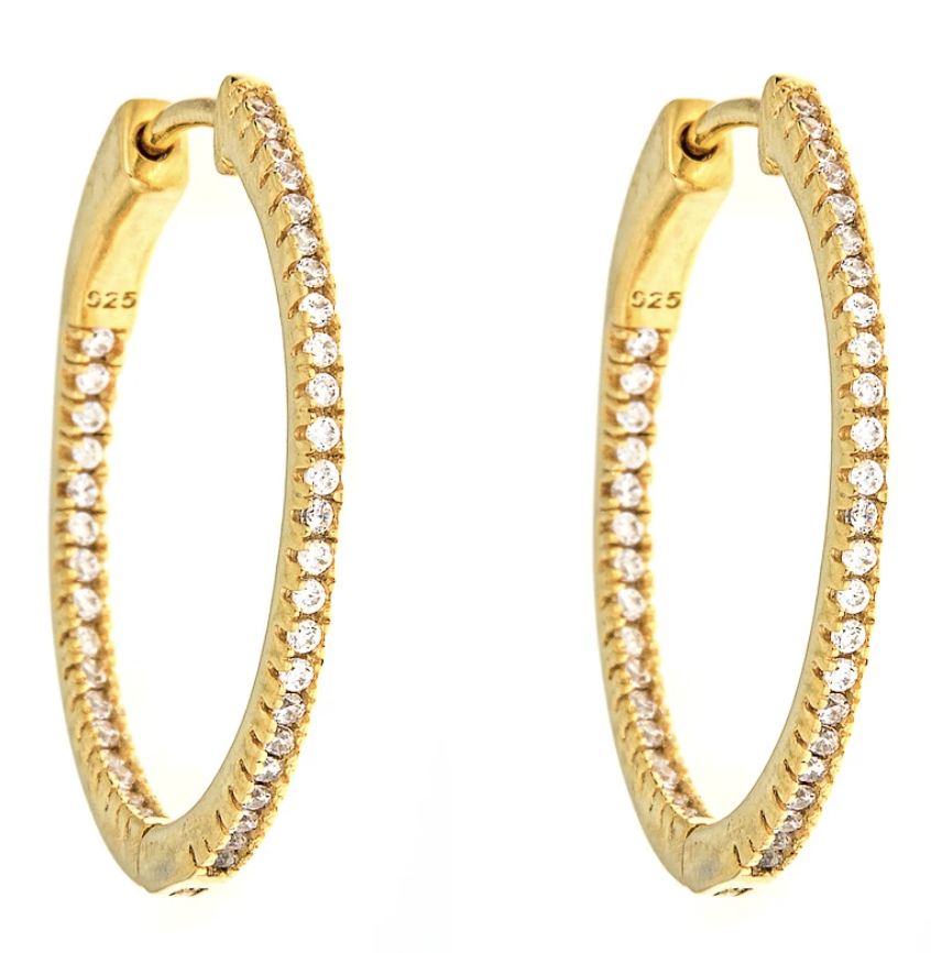 Maya J Jewelry Gold CZ Small Hoops