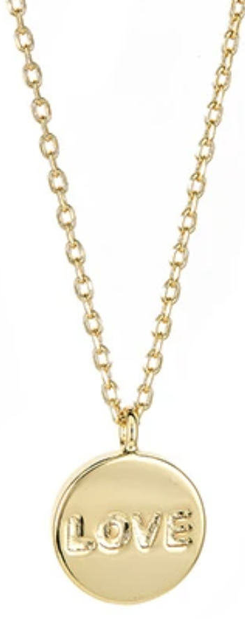 Maya J Jewelry Gold Love Disc Necklace
