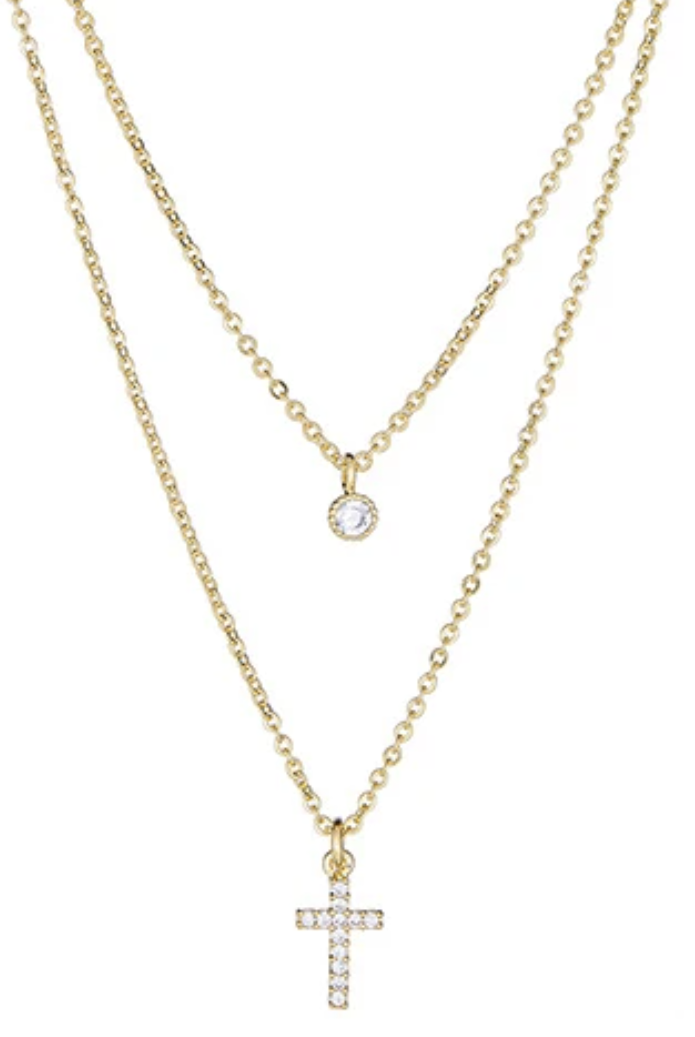 Maya J Jewelry Gold CZ Cross Double Layered Necklace