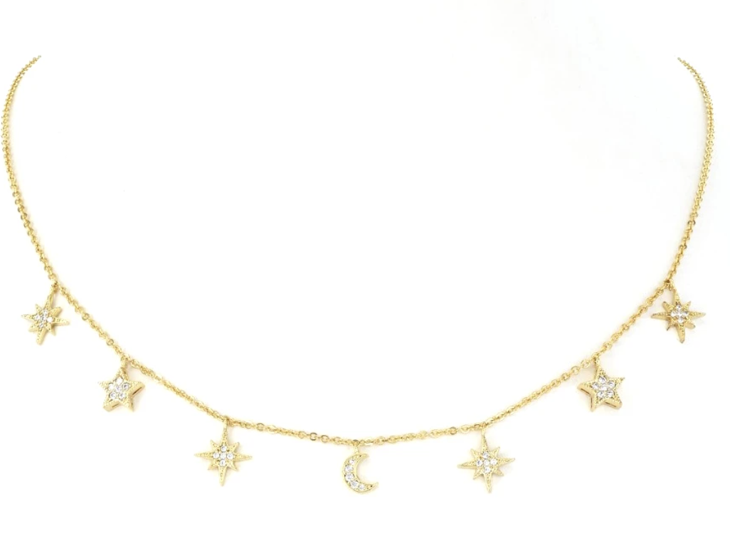 Maya J Jewelry Gold Moon & Stars Dangle Necklace