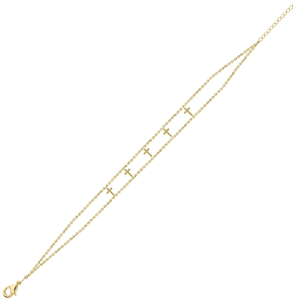 Maya J Jewelry Gold 5 Cross Empowered Bracelet