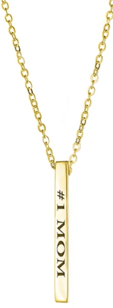 Maya J Jewelry Gold #1 Mom Vertical Block Necklace