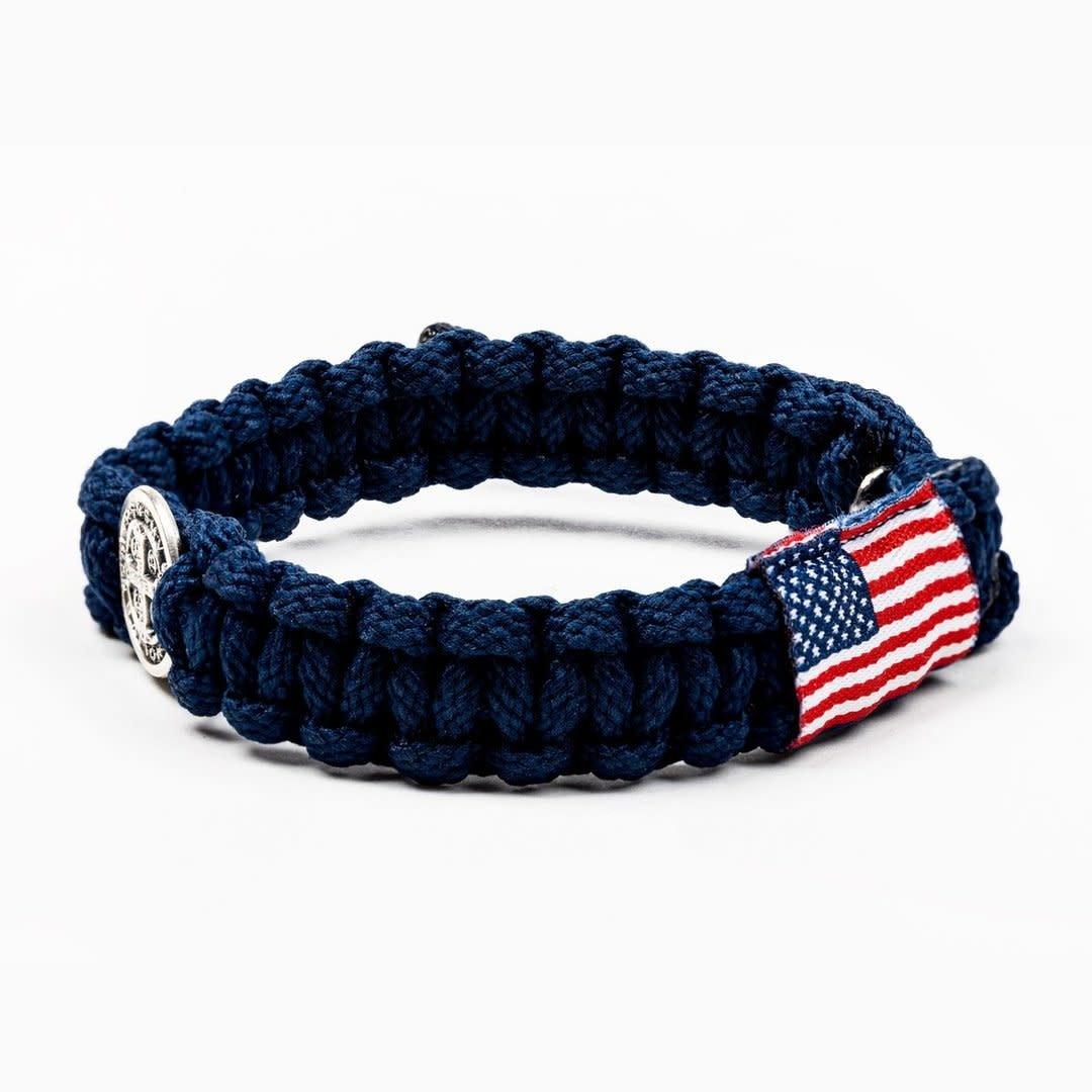 My Saint My Hero God Bless America Blessing Bracelet-Silver/Navy