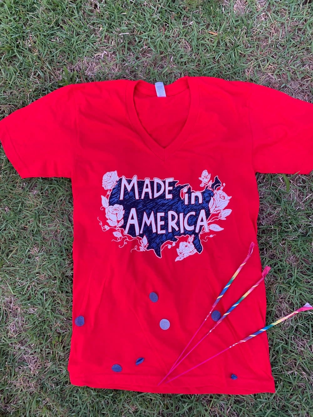 Mr Ps Tees Adult Made in America V-Neck Tee