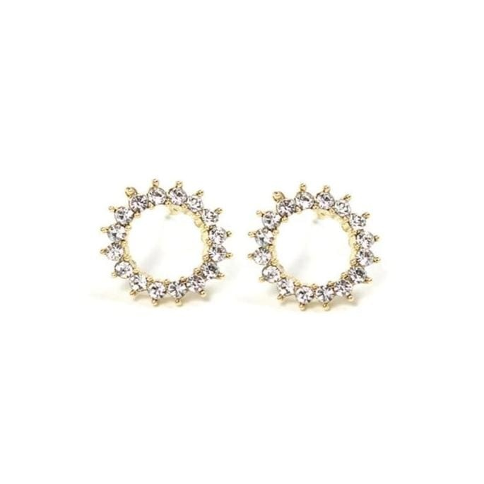 Lover's Tempo Gold Halo Stud Earrings