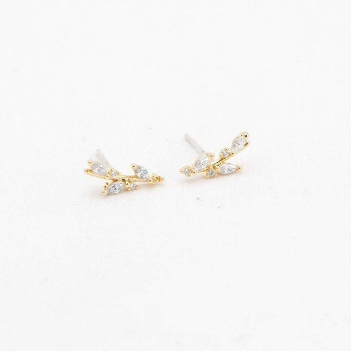 Lover's Tempo Gold Olive Climber Earrings