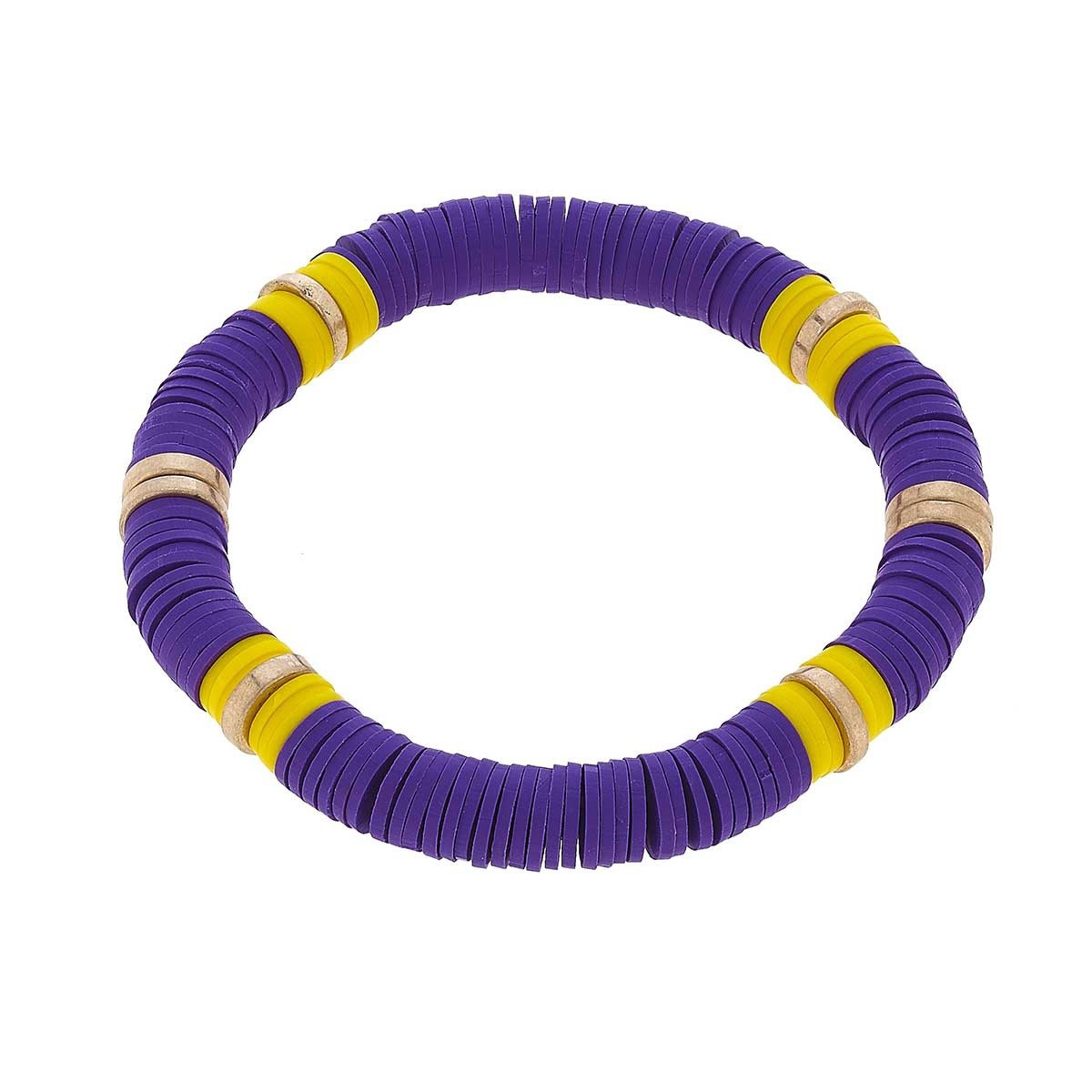 Canvas Emberly Color Block Bracelet-Purple & Yellow Clay