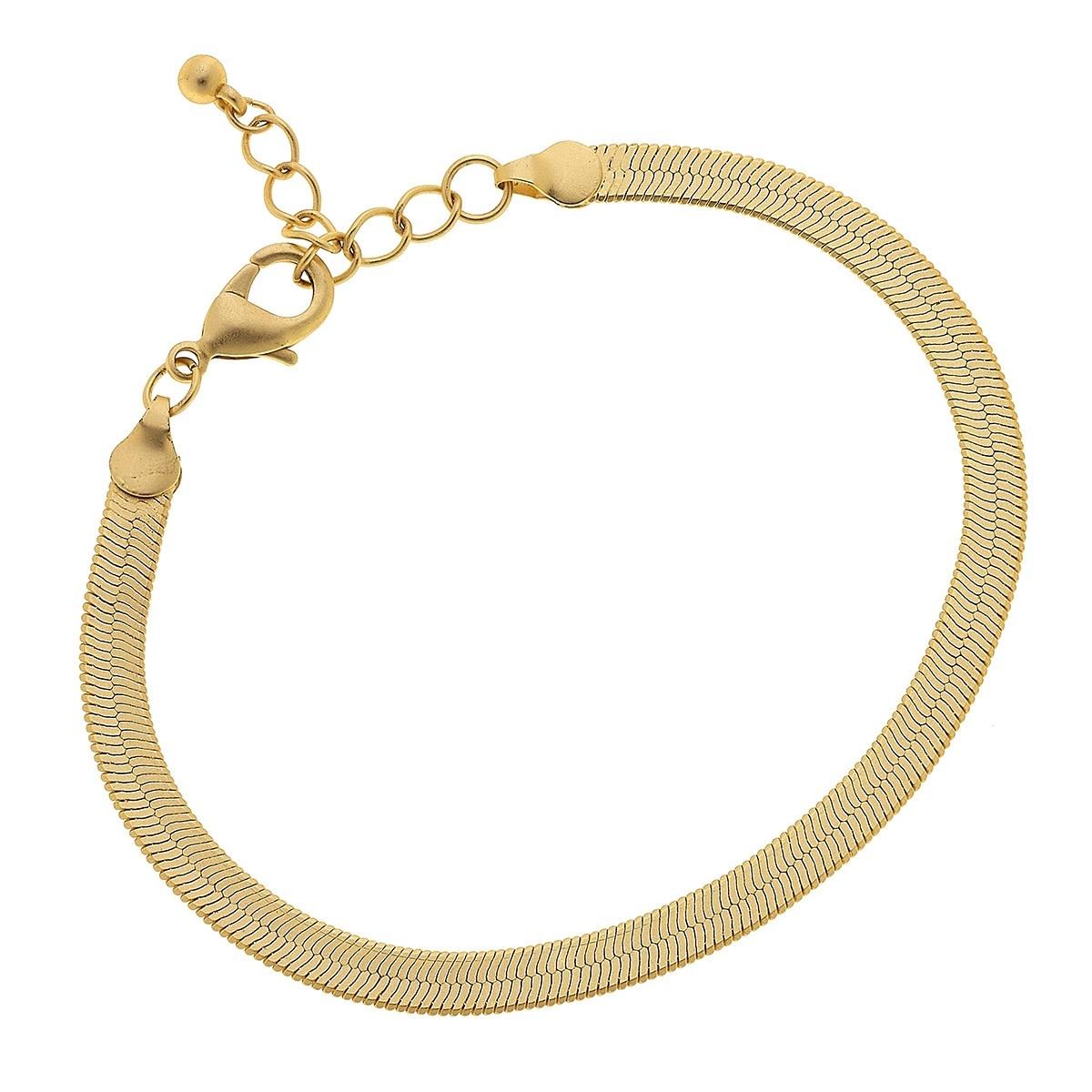 Canvas Natalie Herringbone Chain Bracelet-Gold