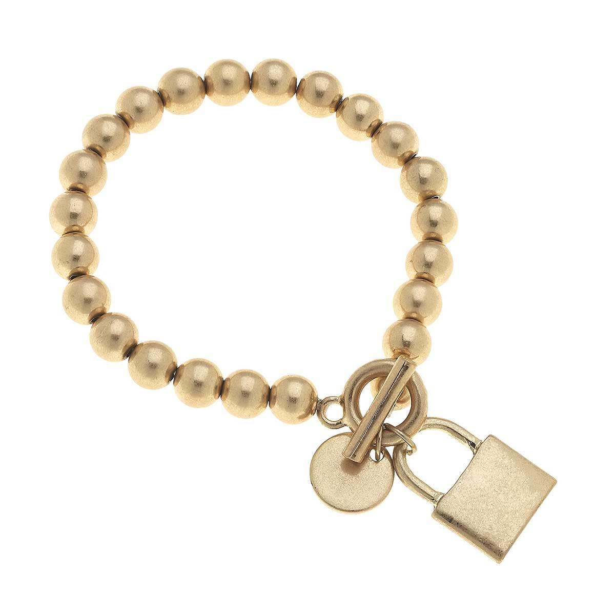Canvas Grayson Padlock T-Bar Bracelet-Worn Gold