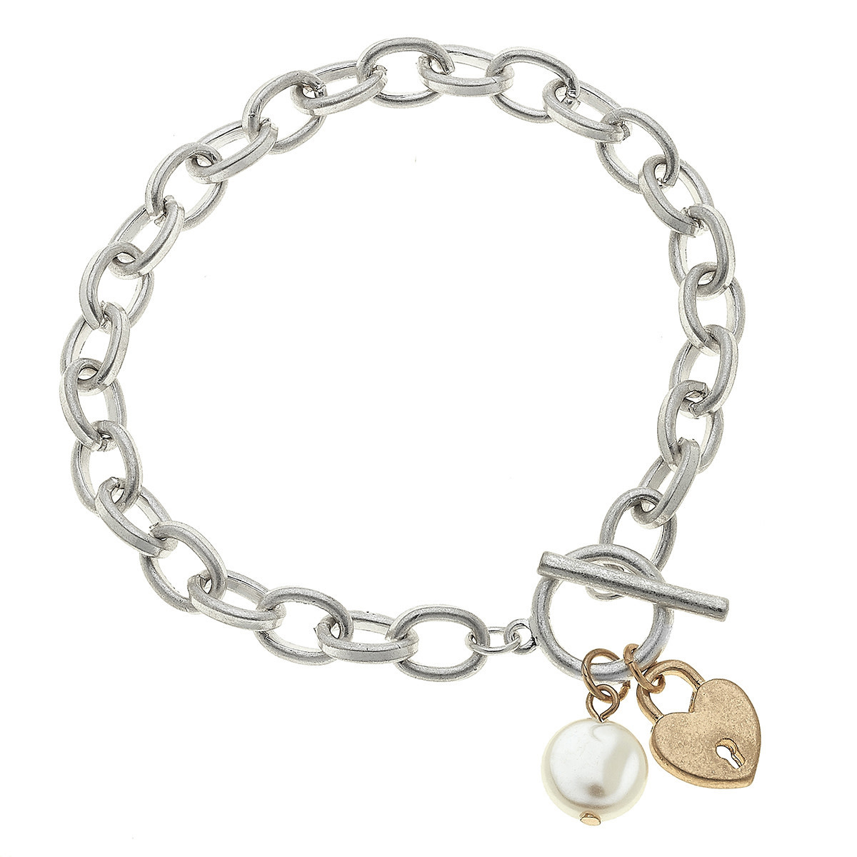 Canvas Claudia Heart T-Bar in Silver
