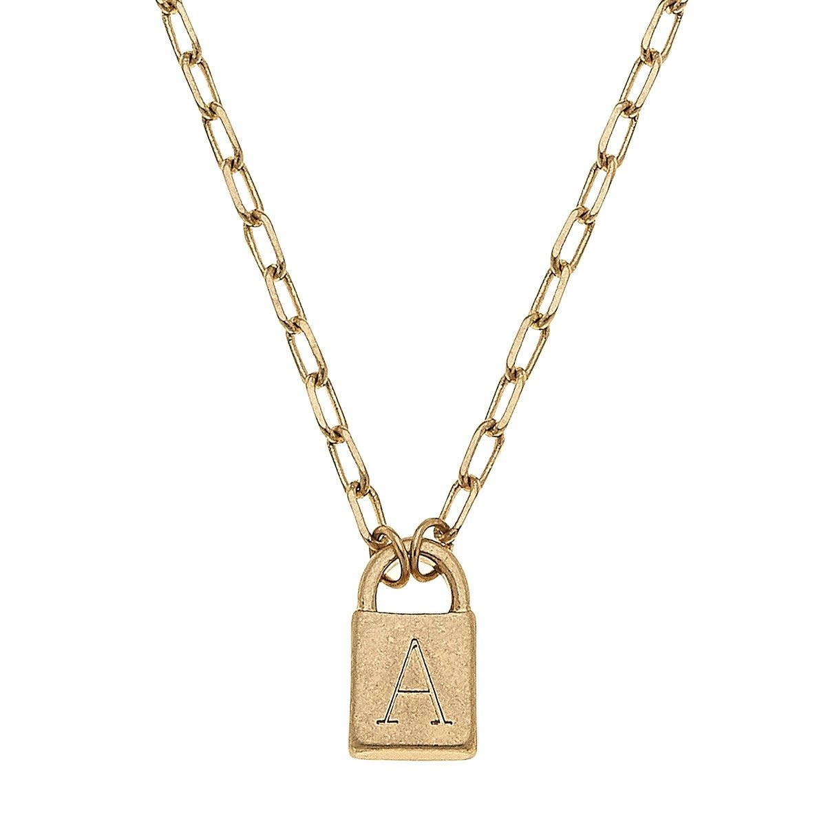 Canvas Kinsley Padlock Initial Necklace