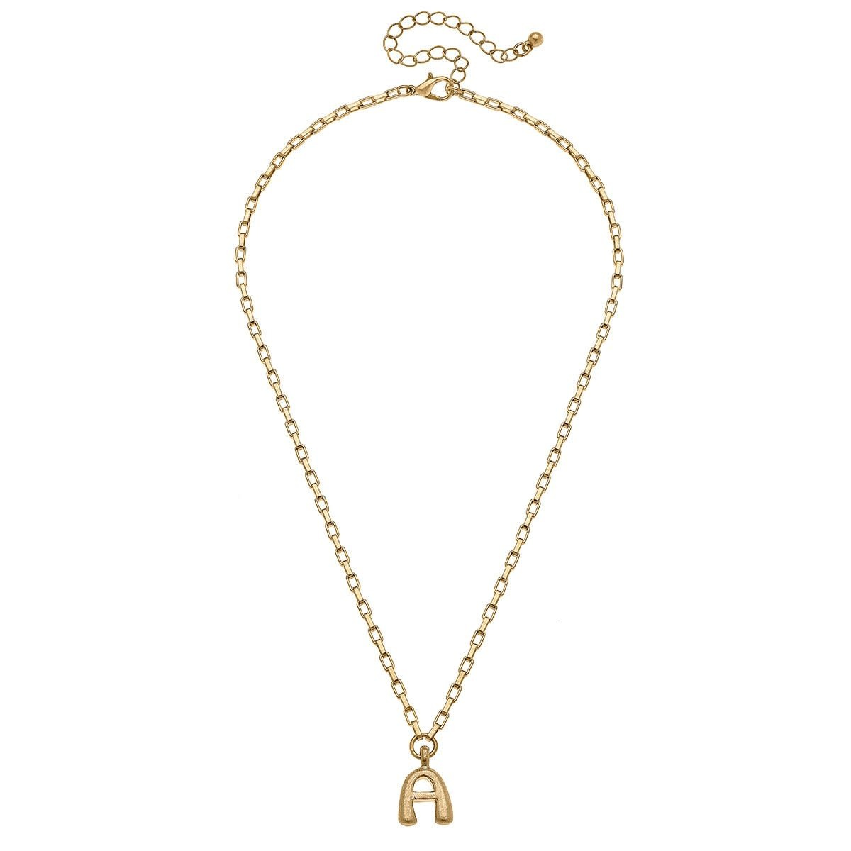 Canvas Holly Box Chain Inital Necklace