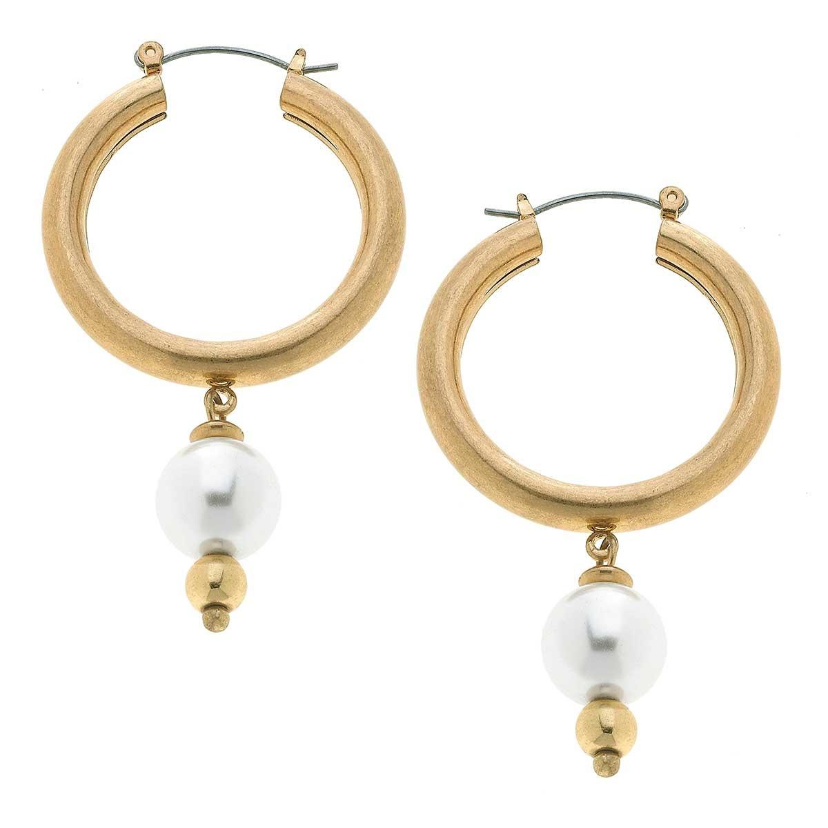Canvas Nina Pearl Drop Hoop Earrings-Worn Gold