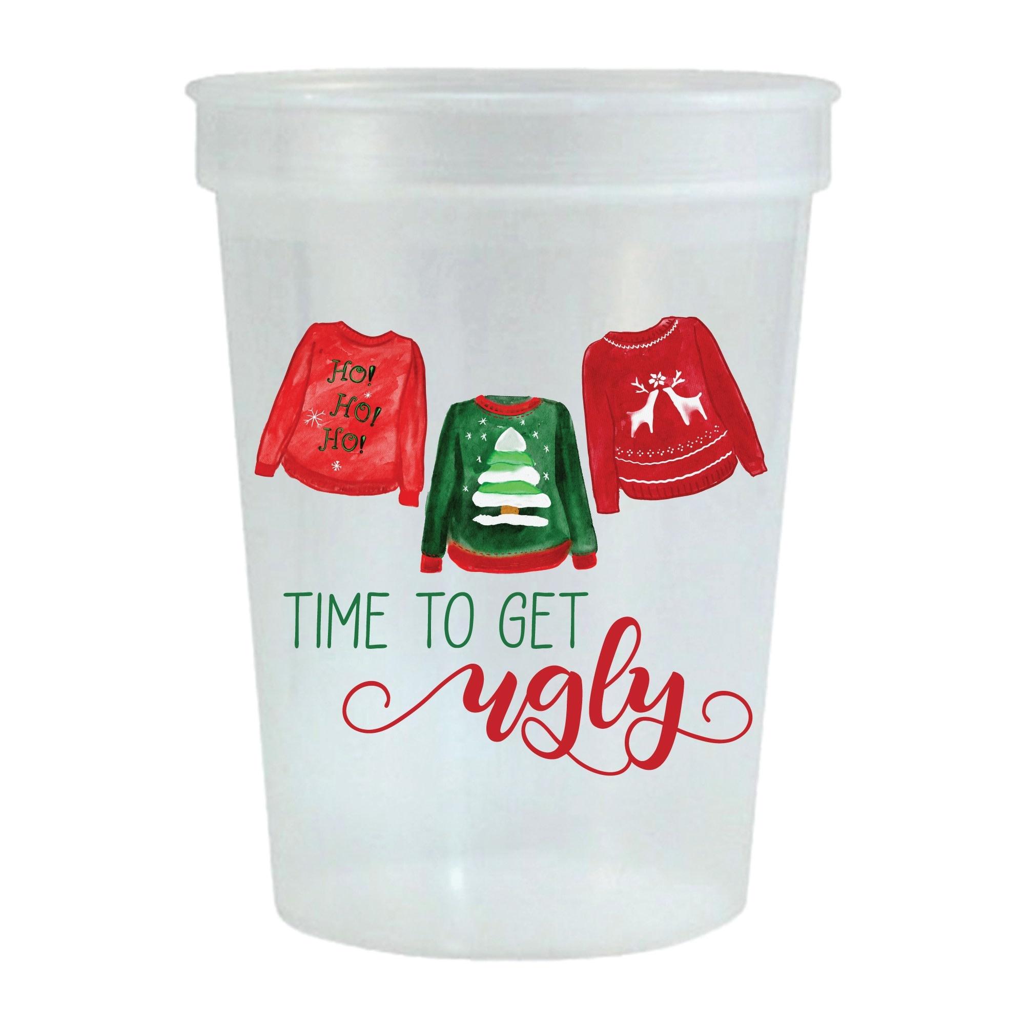 Sip Hip Hooray Ugly Christmas Sweater Stadium Cup-Set of 6