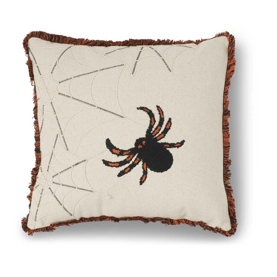 K&K Interiors Cream Square Spider Pillow