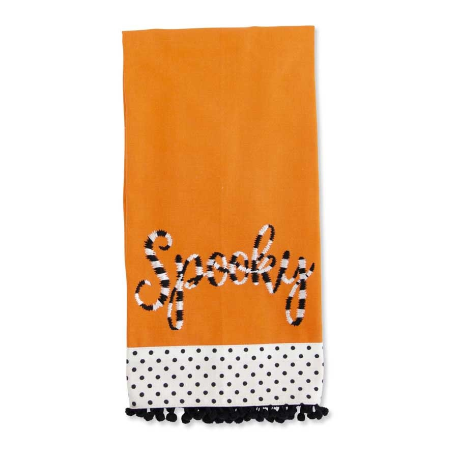 K&K Interiors Orange Spooky Halloween Hand Towel