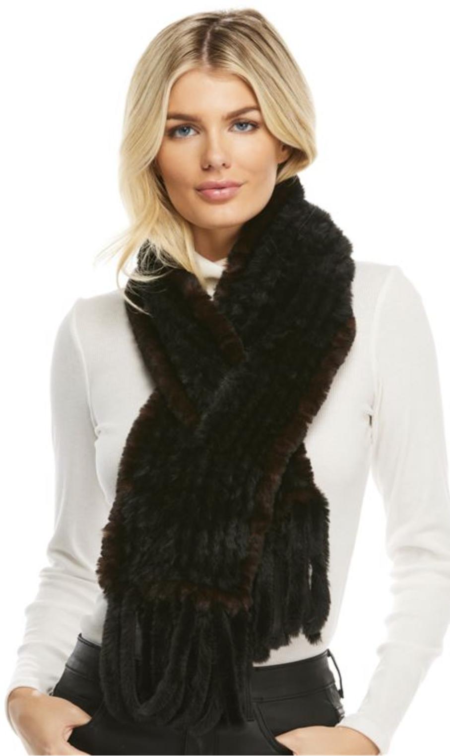 Knitted Fur Fringe Scarf-Black/Whiskey