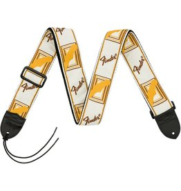 Fender Monogrammed Strap, White/Brown/Yellow