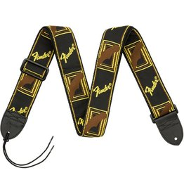 "Fender 2"" Monogrammed Strap, Black/Yellow/Brown"