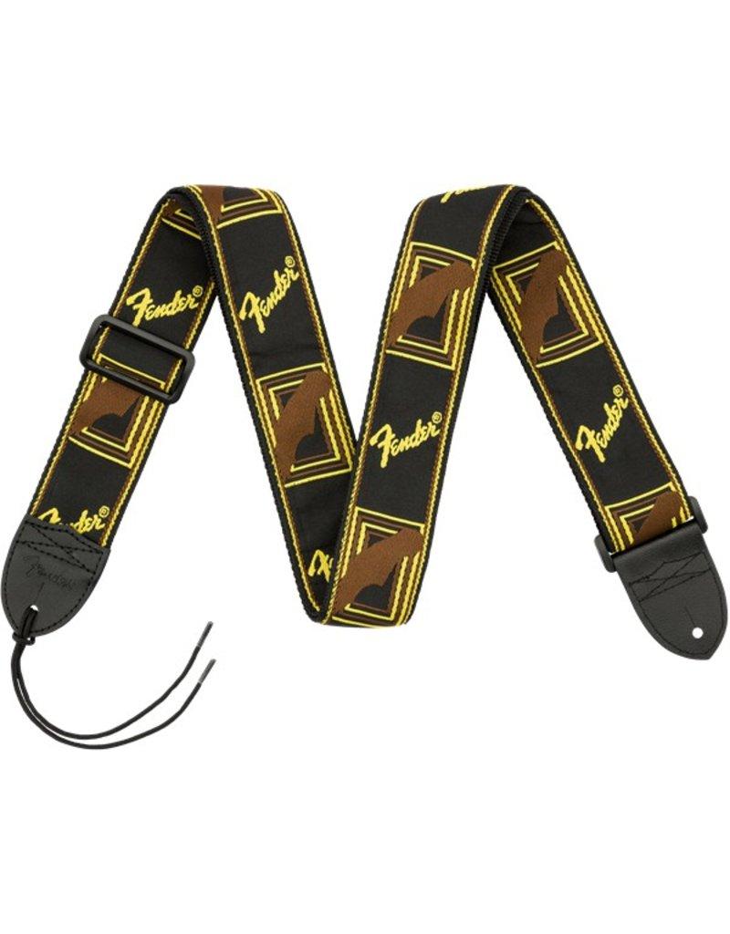 Fender Monogrammed Strap, Black/Yellow/Brown