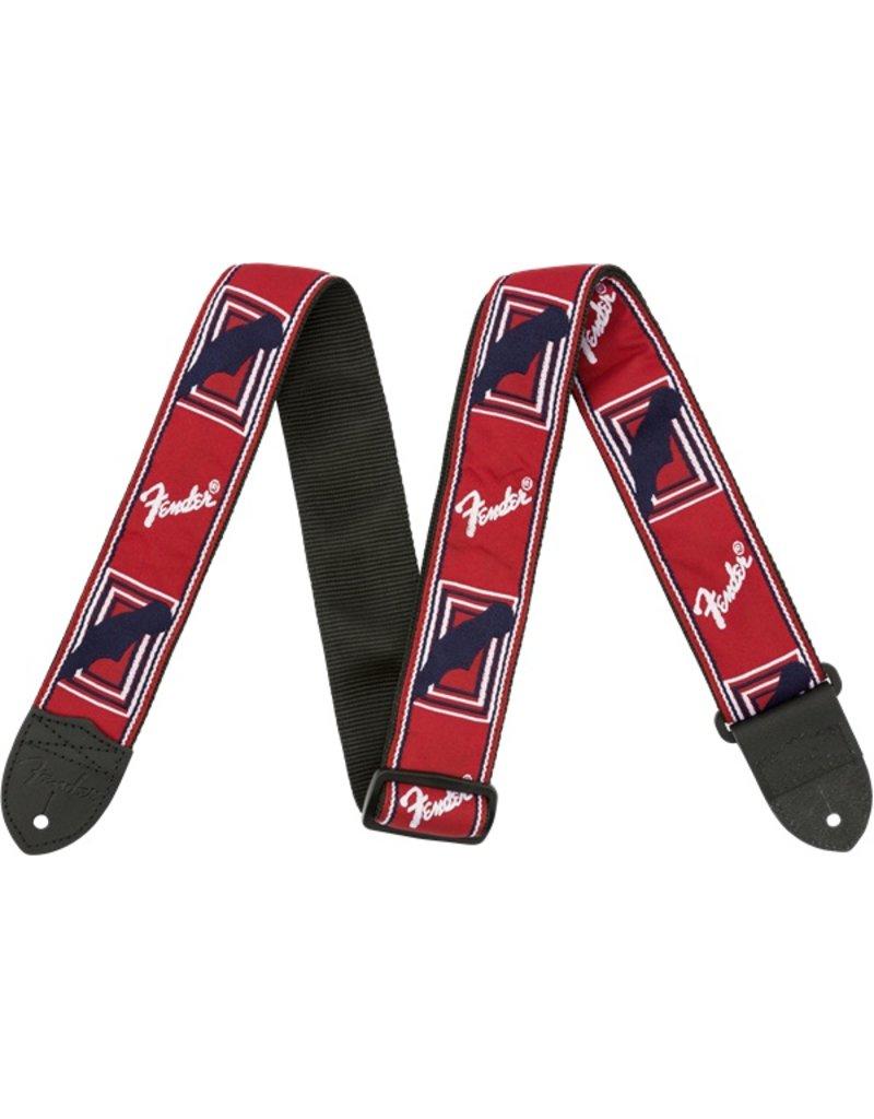 Fender Monogrammed Strap, Red/White/Blue