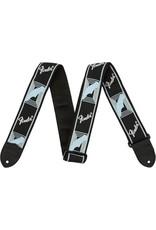Fender Monogrammed Strap, Black/Light Grey/Blue