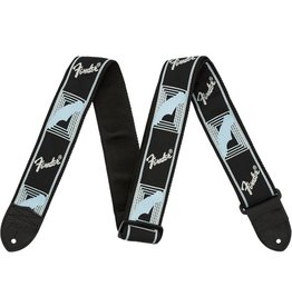 Fender Monogrammed Strap, Black/Light Grey/Blue