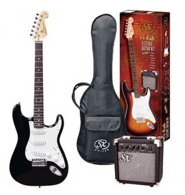 SX SX 3/4 Electric Guitar Pack, Black