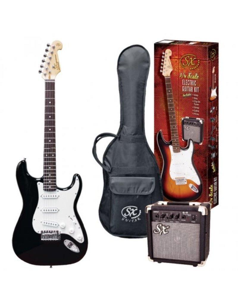 SX SX 3/4 Electric Guitar Pack, Black