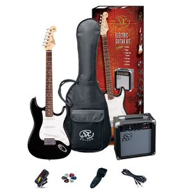 SX Full Size Electric Guitar Pack, Black