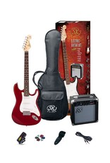 SX SX Full Size Electric Guitar Pack, Red