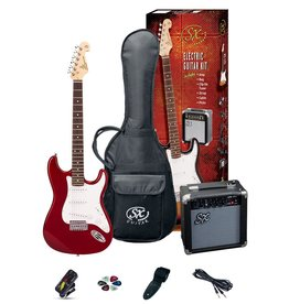 SX Full Size Electric Guitar Pack, Red