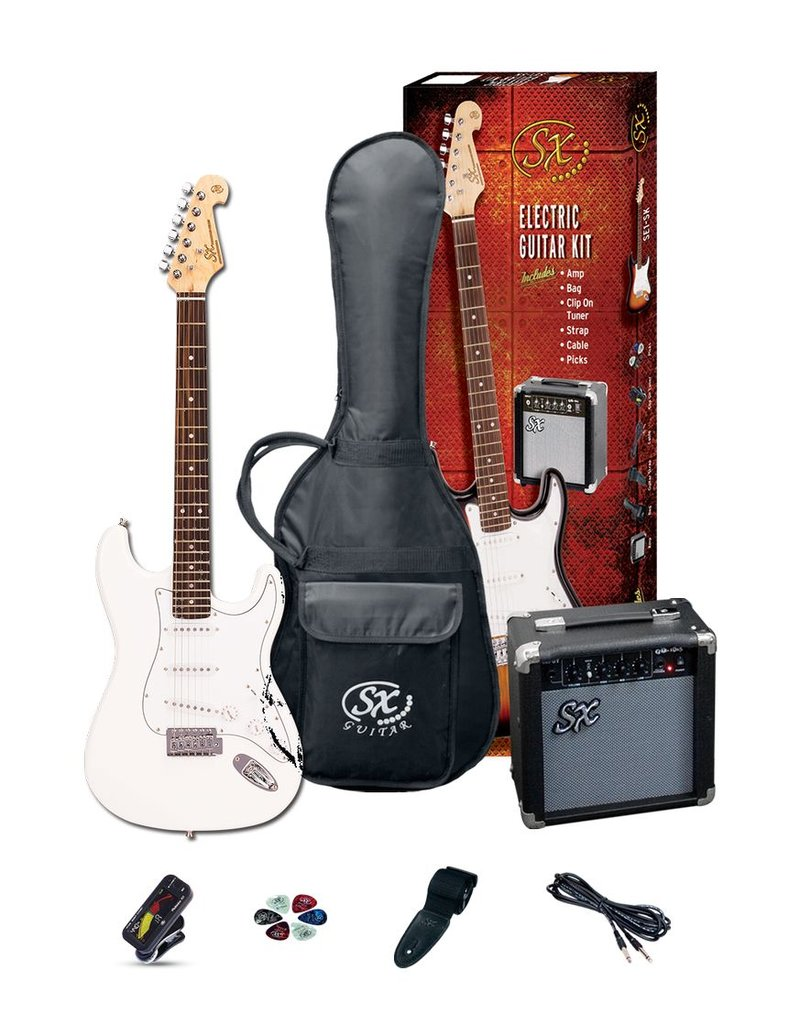 SX SX Full Size Electric Guitar Pack, White