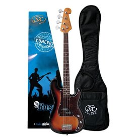 SX SX 3/4 Bass Guitar Pack, Sunburst