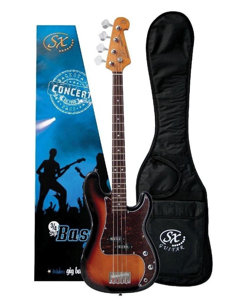 SX SX 3/4 Bass Guitar Pack, Sunburst