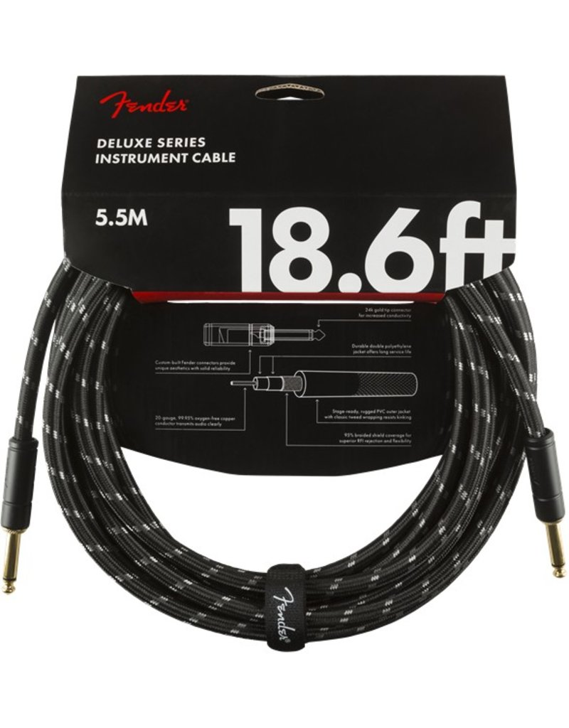 Fender Deluxe 18.6ft Black Tweed Cable