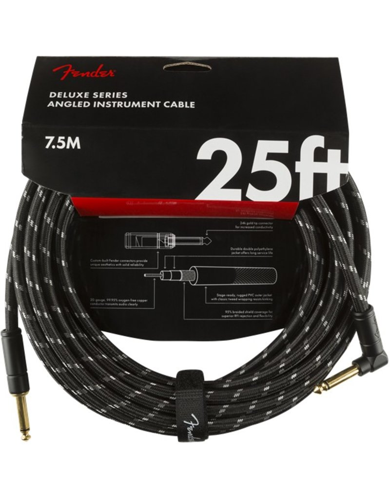 Fender Deluxe 25ft Black Tweed Cable