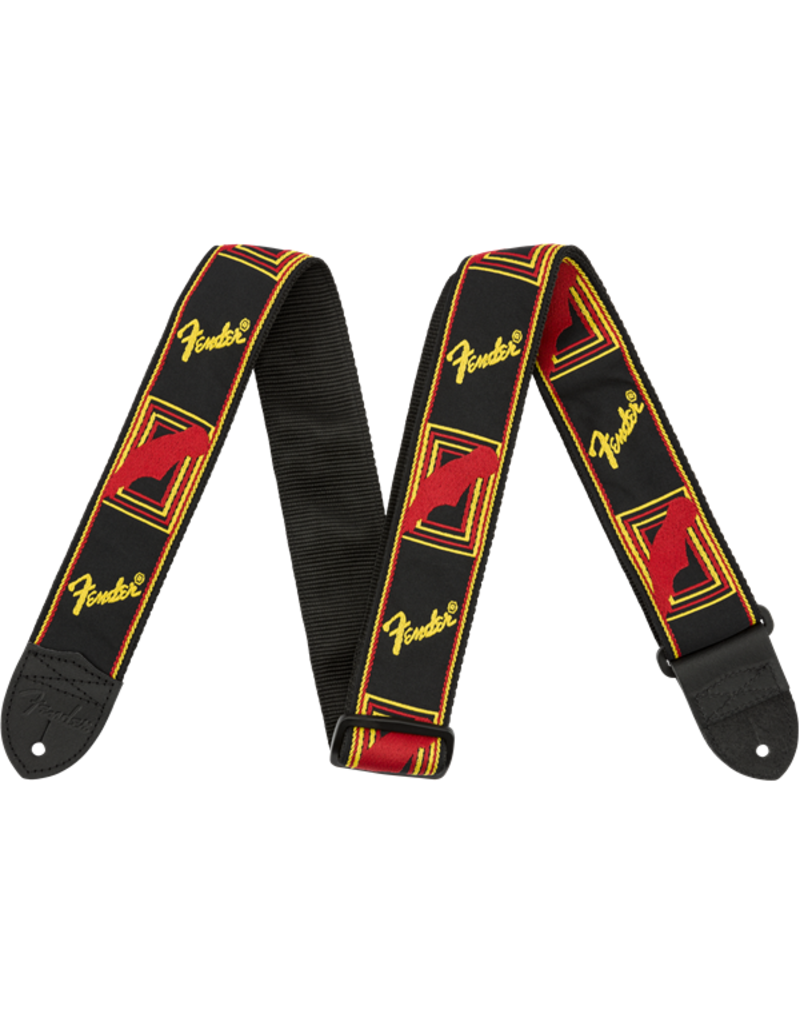 Fender Monogrammed Strap, Black/Yellow/Red