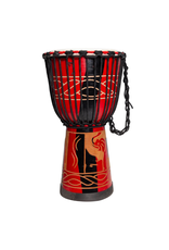 """Drumfire 'Majestic Series' 10"""" Natural Hide Traditional Rope Djembe (Red)"""