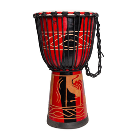 "Drumfire 'Majestic Series' 10"" Natural Hide Traditional Rope Djembe (Red)"