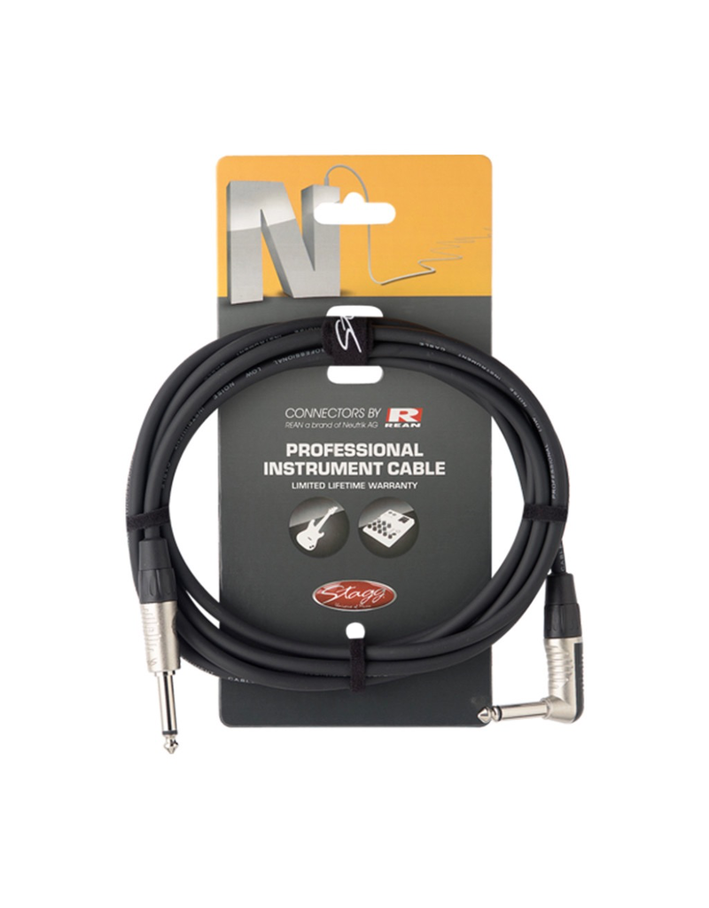 Stagg Stagg Instrument cable, jack/jack (m/m, straight/L-shaped), 3 m (10')