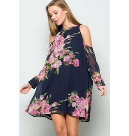 EE:SOME FLORAL PRINT OPEN SHOULDER MOCK NECK DRESS
