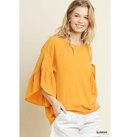 UMGEE RUFFLED TULIP SLEEVE ROUND NECK TOP