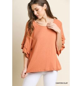 UMGEE KNIT TOP W/ RUFFLE SLEEVE